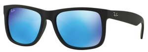Ray Ban RB4165 Justin Black Rubber with Green Mirror Blue Lenses