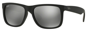 Ray Ban RB4165 Justin Rubber Black w/ Grey Mirror Silver Lenses