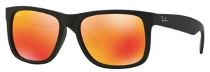 Ray Ban RB4165 Justin Rubber Black with Brown Mirror Orange Lenses