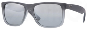 Ray Ban RB4165 Justin Rubber Grey Transparent with Grey/Silver Mirror Gradient Lenses