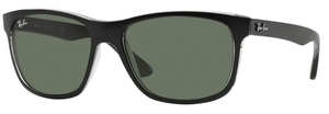 Ray Ban RB4181 Top Matte Black on Transparent Grey w/ Green Lenses