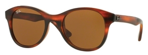 Ray Ban RB4203 Shiny Striped Havana with Dark Brown Lenses