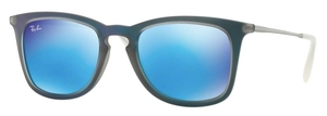 Ray Ban RB4221 Shot Blue Rubber with Light Green Mirror Blue Lenses
