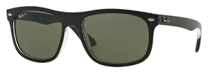 Ray Ban RB4226 Top Matte Black On Transparent with Polarized Dark Green Lenses