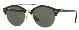 Ray Ban RB4346 CLUBROUND DOUBLE BRIDGE Black with Green Lenses