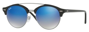 Ray Ban RB4346 CLUBROUND DOUBLE BRIDGE Shiny Black with Blue Flash Gradient Lenses