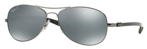 Ray Ban RB8301 Shiny Gunmetal with Polarized Blue Mirror Silver Lenses