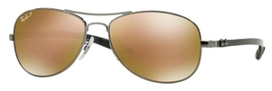 Ray Ban RB8301 Shiny Gunmetal with Polarized Brown Mirror Gold Lenses