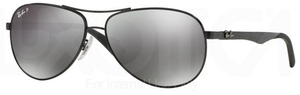 Ray Ban RB8313 Shiny Black w/ POLAR Grey Mirror Black Lenses  002/K7