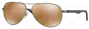 Ray Ban RB8313 Shiny Gunmetal w/ POLAR Brown Mirror Gold Lenses  004/N3
