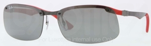 Ray Ban RB8314 Dark Carbon-Rubber Red with Grey Mirror Lenses