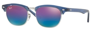 Ray Ban Junior RJ9050S Transparent Blue with Green Mirror Blue Gradient Violet Lenses
