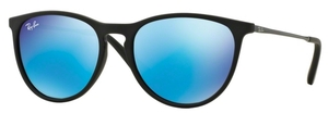 Ray Ban Junior RJ9060S Rubber Black w/ Light Green Mirror Blue Lenses