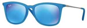 Ray Ban Junior RJ9063S Azure Fluo Transparent Rubber with Light Green Mirror Blue Lenses