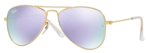 Ray Ban Junior RJ9506S Matte Gold with Lilac Flash Lenses