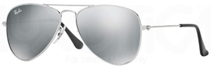 Ray Ban Junior RJ9506S Shiny Silver w/ Grey Silver Mirror Lenses
