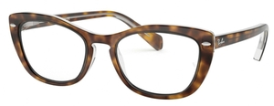 Ray Ban Glasses RX5366 Top Havana on Transparent
