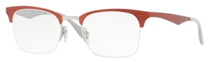 Ray Ban Glasses RX6360 Silver Top Red