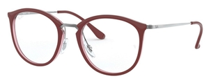 Ray Ban Glasses RX7140 Top Bordeaux on Transparent Red