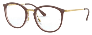 Ray Ban Glasses RX7140 Top Brown on Transparent Brown