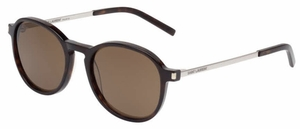 YSL Saint Laurent SL 110 Havana-Silver with Brown Lenses