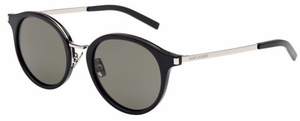 YSL Saint Laurent SL 57 Shiny Black with Green Lenses