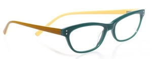 Eyebobs Stew Zoo Reader Green Front with Gold Temples