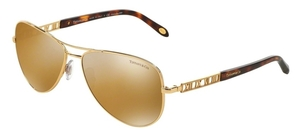 Tiffany TF3047K Gold with Crystal Light Brown Mirror Gold Lenses