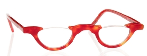 Eyebobs Topless Red/Orange Tortoise Front with Red/Pink Checkered Temples