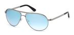 Tom Ford FT0144 Marko Shiny Light Ruthenium with Blue Mirror Lenses