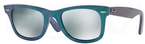 Ray Ban RB2140 Wayfarer Metallic Azure w/ Green Mirror Silver Lenses