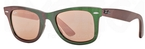 Ray Ban RB2140 Wayfarer Metallic Green w/ Light Brown Mirror Pink Lenses