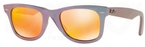 Ray Ban RB2140 Wayfarer Metallic Oil w/ Brown Mirror Pink Lenses