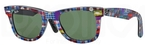 Ray Ban RB2140 Wayfarer Top Texture Plaid on Black with Green Lenses