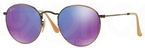 Ray Ban RB3447 Round Metal Brushed Bronze with Violet Mirror Lenses