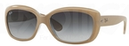Ray Ban RB4101 Jackie Ohh Top Matte Beige on Transparent w/ Grey Gradient Dark Grey Lenses