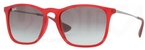 Ray Ban RB4187 Rubber Transparent Red with Grey Gradient Lenses