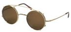 Dolomiti Eyewear Round Sunclip Shiny Gold with Brown Polarized Lenses