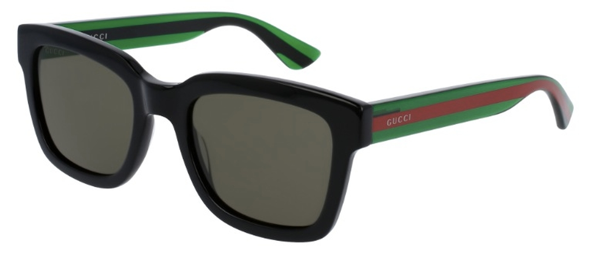 d8a36f5c702b GG 0001S Sunglasses Black with Green/Red Temples and Green Lenses