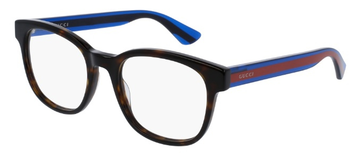5214fcdb1022 Gucci GG0005O Havana with Blue Red Temples. Havana with Blue Red Temples