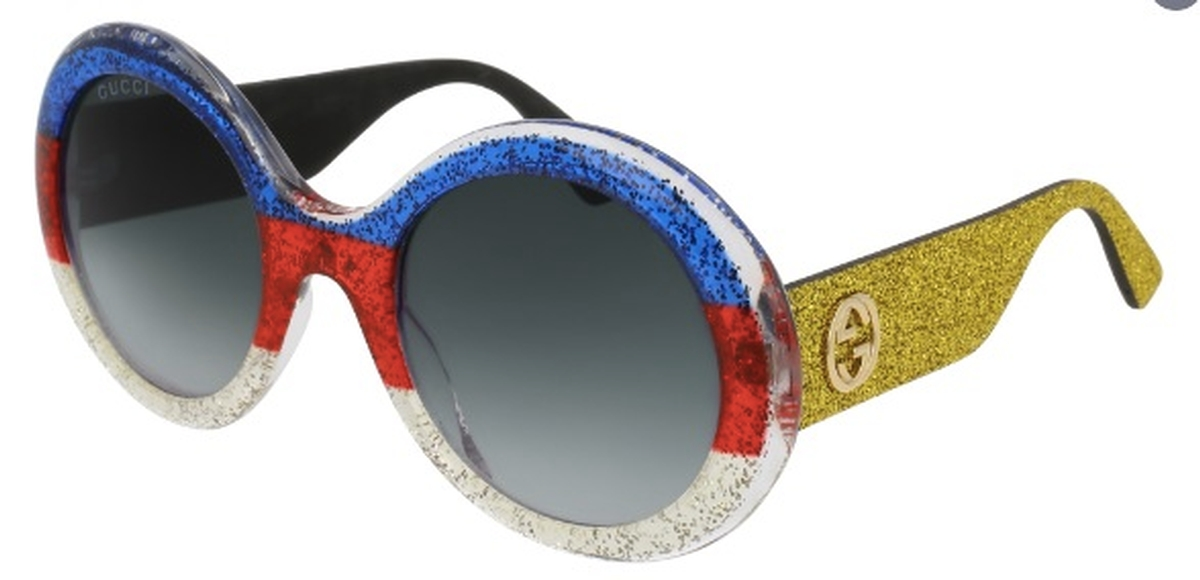 9eef1ea3dbe Gucci GG0101S Red White Blue with Yellow Glitter Temples