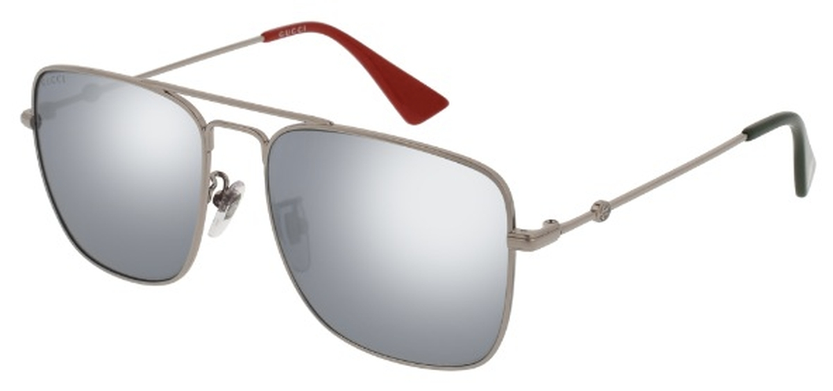467ad020d1f Gucci GG0108S Silver with Silver Mirror Lenses. Silver with Silver Mirror  Lenses