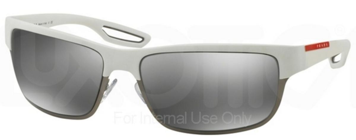 306a86992 Prada Sport PS 50QS White Rubber/Matte Gunmetal w/ Grey Mirror Silver  Lenses TWK7W1. White Rubber/Matte Gunmetal w/ Grey Mirror Silver Lenses  TWK7W1