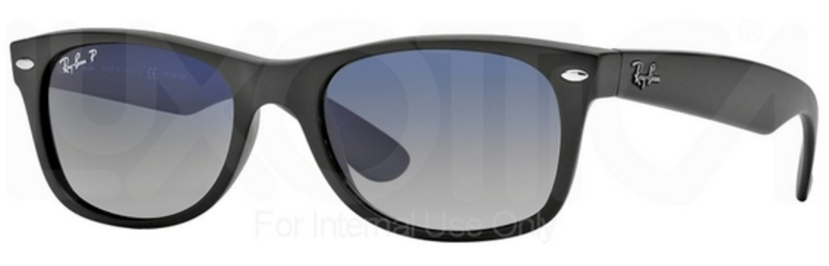 7e539acc214 Matte Black w  POLAR Blue Grad. Grey Lenses 601S78 · Ray Ban RB2132 New  Wayfarer ...