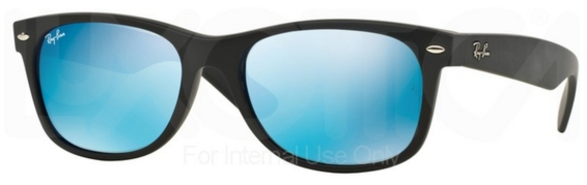 ad439b39d2 Ray Ban RB2132 New Wayfarer Rubber Black with Green Mirror Blue Lenses.  Rubber Black with Green Mirror Blue Lenses