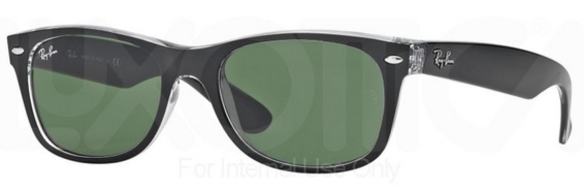 Ray Ban RB2132 New Wayfarer Top Black on Transparent w  Green Lenses 6052.  Top Black on Transparent w  Green Lenses 6052 0e072687c246