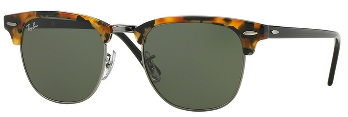 ed5180c95 ... closeout ray ban rb3016 clubmaster spotted black havana w green lenses.  spotted black havana w