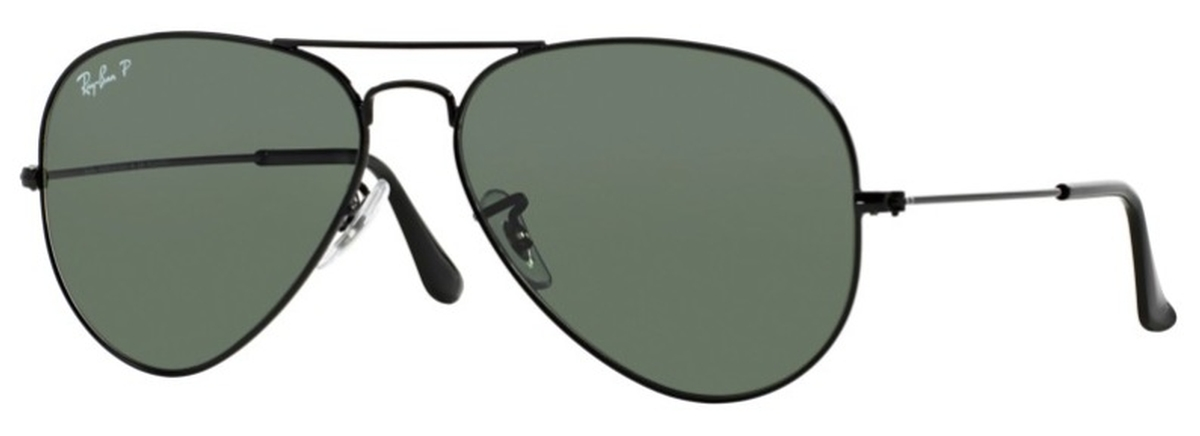 b02b1068e3c Black with Crystal Green Polarized Lenses · Ray Ban RB3025 Aviator Large  Metal Black ...