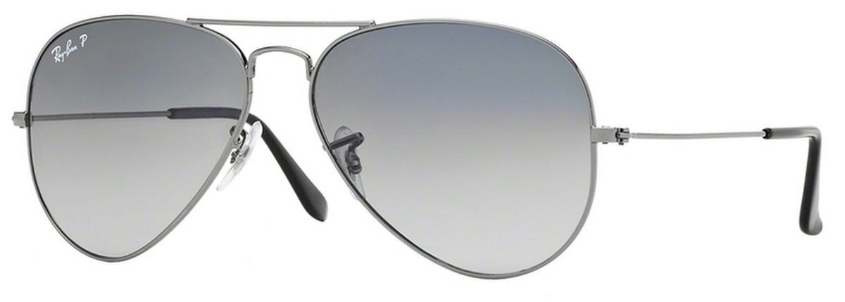 16b6bd5ce5 Gunmetal w  Crystal POLAR Blue Grad.Grey Lenses · Ray Ban RB3025 Aviator  Large ...