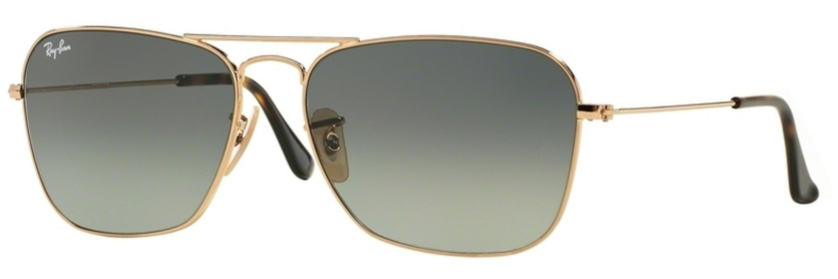 0ce81c349d Gold w  Light Grey Gradient Dark Grey Lenses. Ray Ban RB3136 (Caravan)  Gunmetal with Crystal Green Lenses
